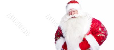 Traditional Santa Claus giving a big `ho ho ho` belly laugh. Iso
