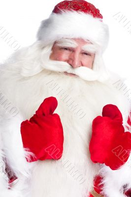 Traditional Santa Claus thumbs up. Isolated on white.