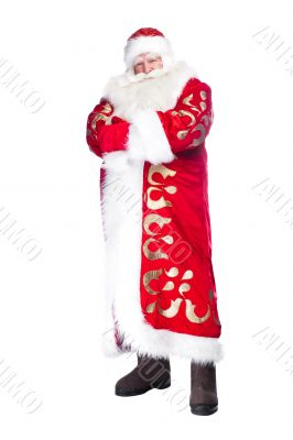 A traditional Christmas Santa Clause, full body isolated.
