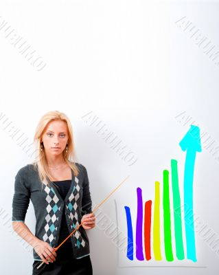Young business teacher showing growing profit with graph on whit