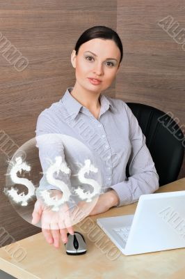 Portrait of a beautiful young businesswoman on the computer, rec