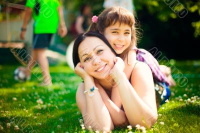 Artistic lifestyle photo happy family: adult woman and her daugh