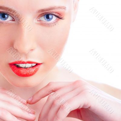 Close-up portrait of sexy caucasian young woman with beautiful b