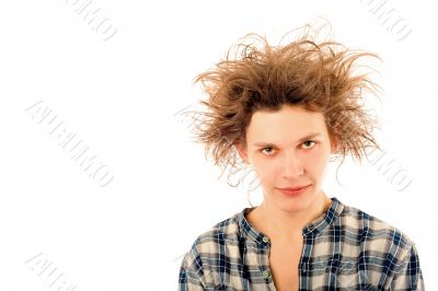 Portrait of funny young man with awesome hairdo isolated on whit