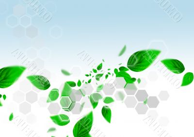 Spring leafs abstract background with place for your text. Ecolo