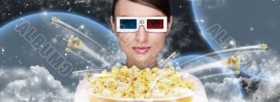 Portrait of young stylish modern woman wearing 3d glasses watchi
