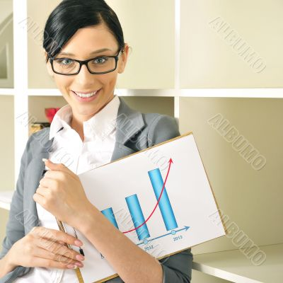 Portrait of a beautiful young woman with statistics.