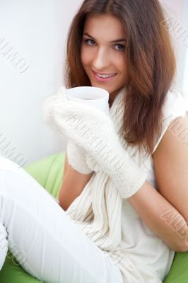 Day dreaming - Caucasian American female relaxed at home, having