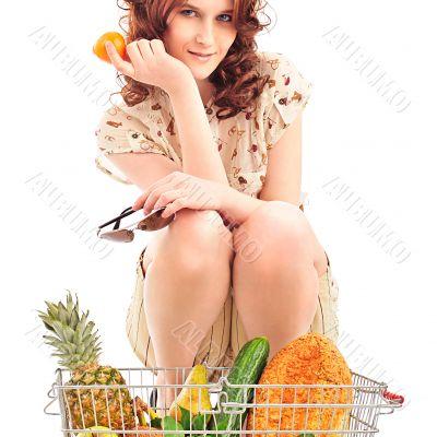 Closeup portrait of pretty caucasian woman wearing stylish cloth