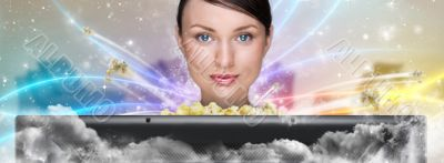 Portrait of young stylish modern woman watching movie at home an