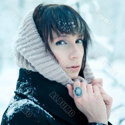 Closeup portrait of tired sick pretty woman