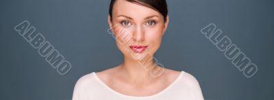 Young elegant black hair woman beauty portrait , studio shot aga