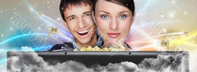Portrait of young stylish modern couple watching movie at home e
