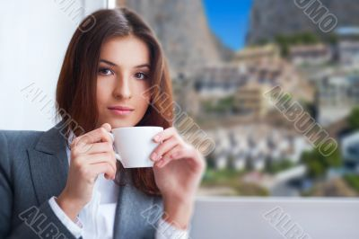 Portrait of beautiful young business woman wearing formal clothe
