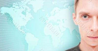 Businessman face in front of an earth map