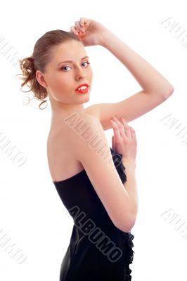 Closeup beauty portrait of beautiful handsome woman with slim se