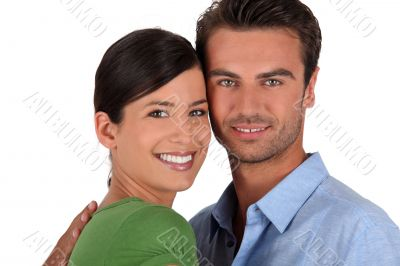 Couple stood with face touching