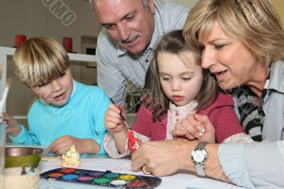 Grandparents spending time with grandchildren