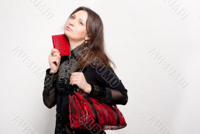 Portrait of a bright beautiful young woman with fashion  handbag