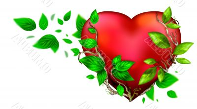 Beautiful bright heart of red color with green leaves floating a