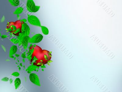Two Beautiful bright hearts of red color with green leaves float