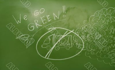 Ecological agitation illustration on green board