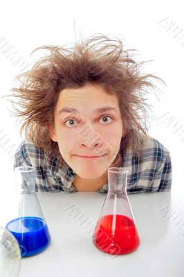 Crazy man portrait isolated background