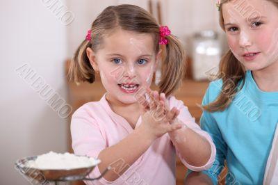 Children baking in the kitchen