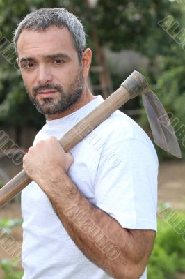 A middle aged gardener.