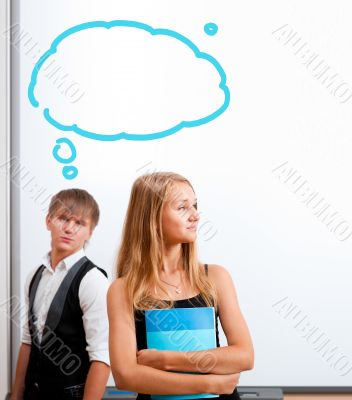 Beautiful students making presentation on white board. Blank bal