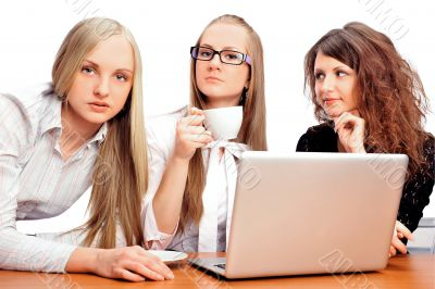 Group of women with a laptop computer - isolated