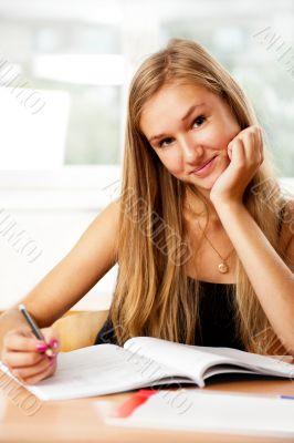 A portrait of a caucasian race school student at classroom