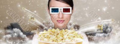 Portrait of young stylish modern woman wearing 3d glasses watchi