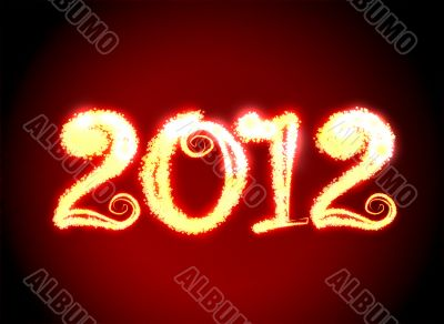 Date New Year 2012 on dark red background