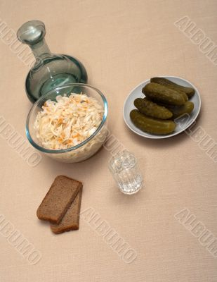 Vodka and snack.