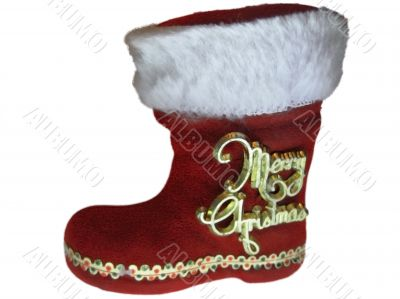 Santa Claus boot and hidden christmas present