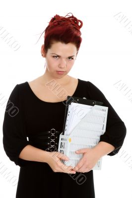 Young woman with folder of documents