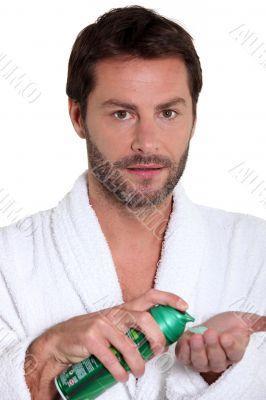 Man with shaving foam