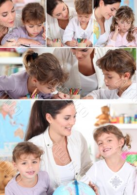 Young woman and little girls coloring