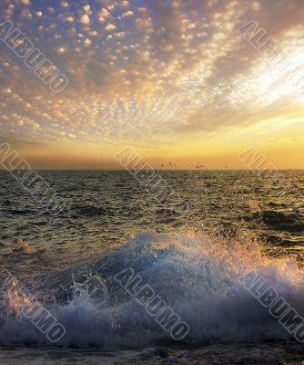 unusual sunset over the sea