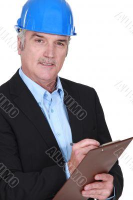 Surveyor with clipboard