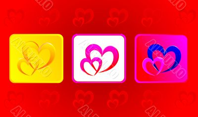 Two hearts illustration in three variations against red backgrou