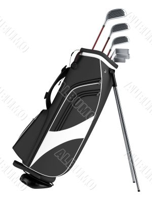 Black bag with golf clubs
