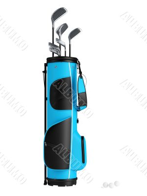 Blue bag with golf clubs