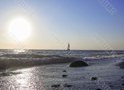 Lonely sail drifting under the big sun
