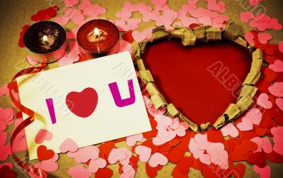 St. Valentine`s day greeting background with two burning candles