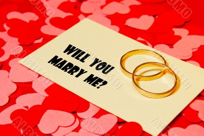Two rings and a card with marriage proposal