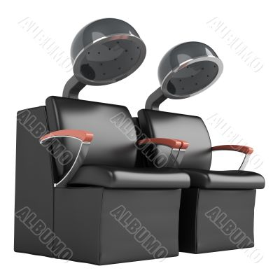 Double hair dryer chairs
