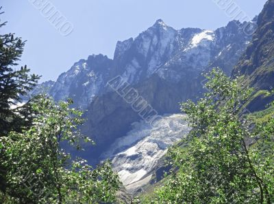 Caucasus mountains and forest under clear blue sky