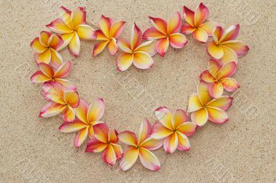Frangipani/plumeria flower frame in shape of heart on sand